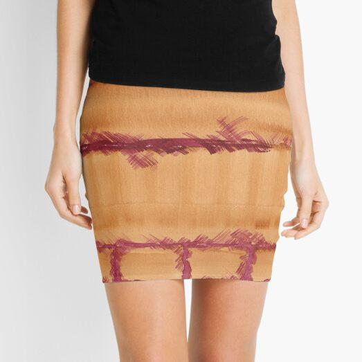 Watercolor Hand Painted Brown Burgundy Brick Wall Texture Mini Skirt
