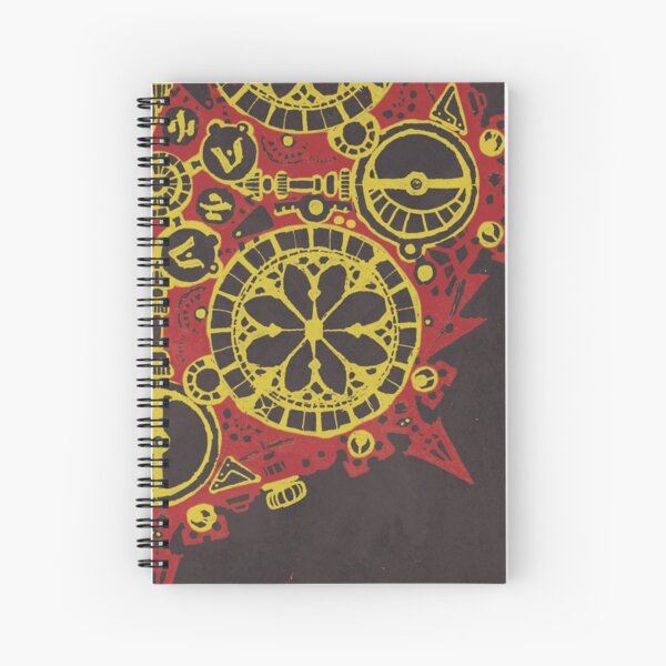 Abstract Inked Machinery, Fiery Red Spiral Notebook