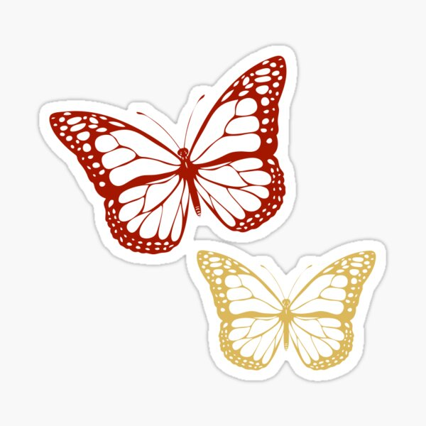 red/gold butterfly Sticker