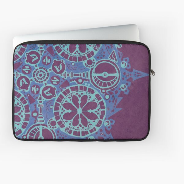 Abstract Inked Machinery, Arcane Blue on Purple Laptop Sleeve