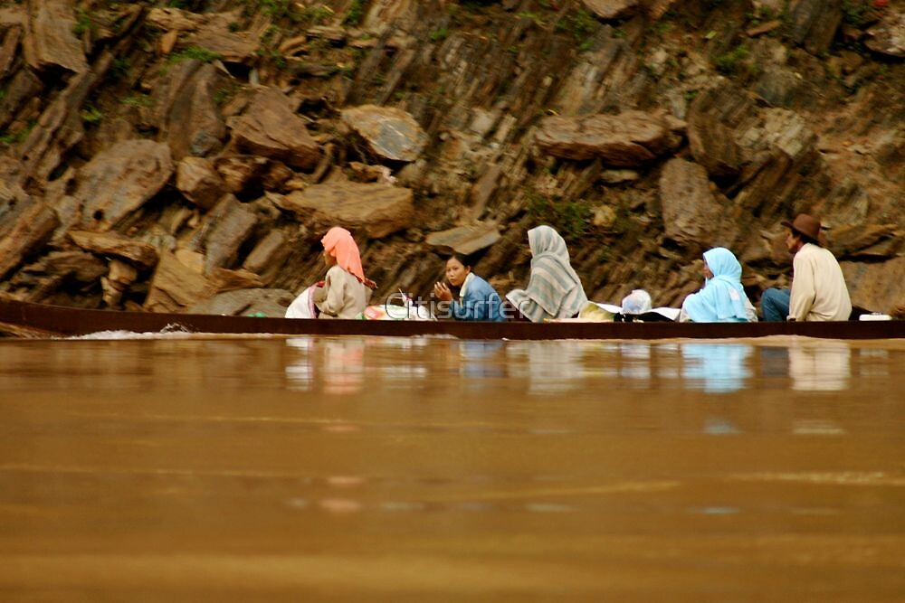 Villagers take a River Trip in Laos by Citisurfer