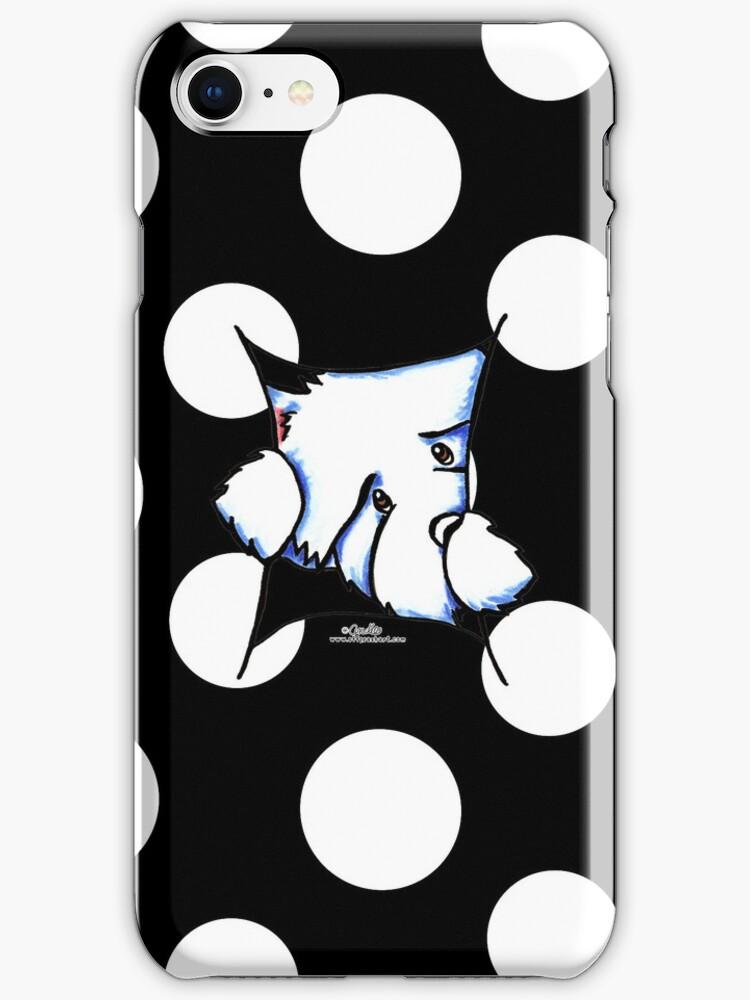 Westie Inside Black Polka Dots by offleashart