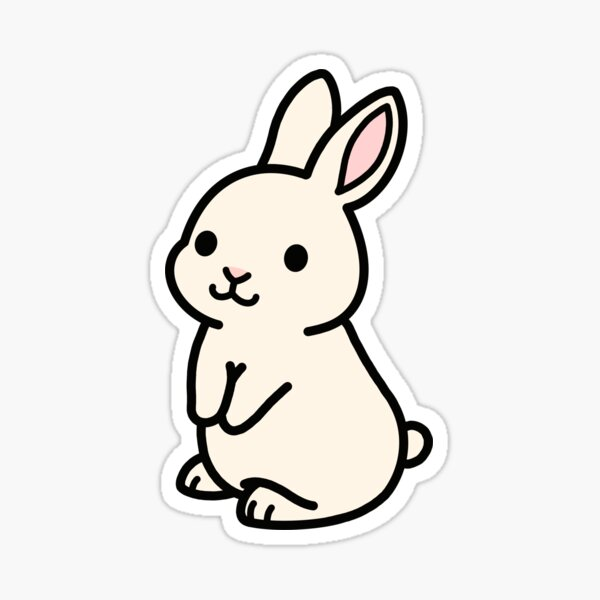 White Bunny Sticker