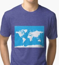 World map Travel C Ocean ed Tri-blend T-Shirt