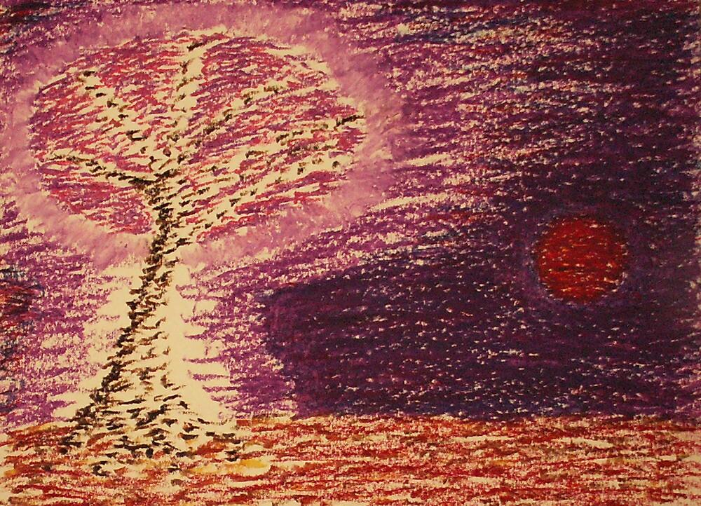 A Sakura Tree on the Night of the Red Moon by IvanRadev