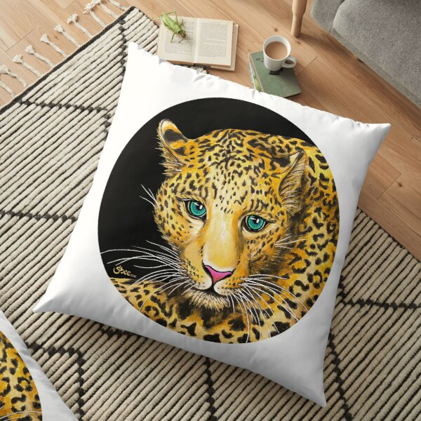 Young Leopard - Endangered Animals from Shee - Retro Animals Floor Pillow