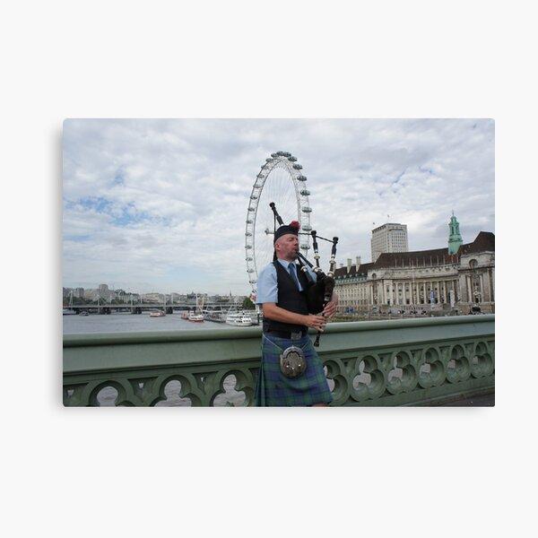Bagpiper at London Eye Canvas Print