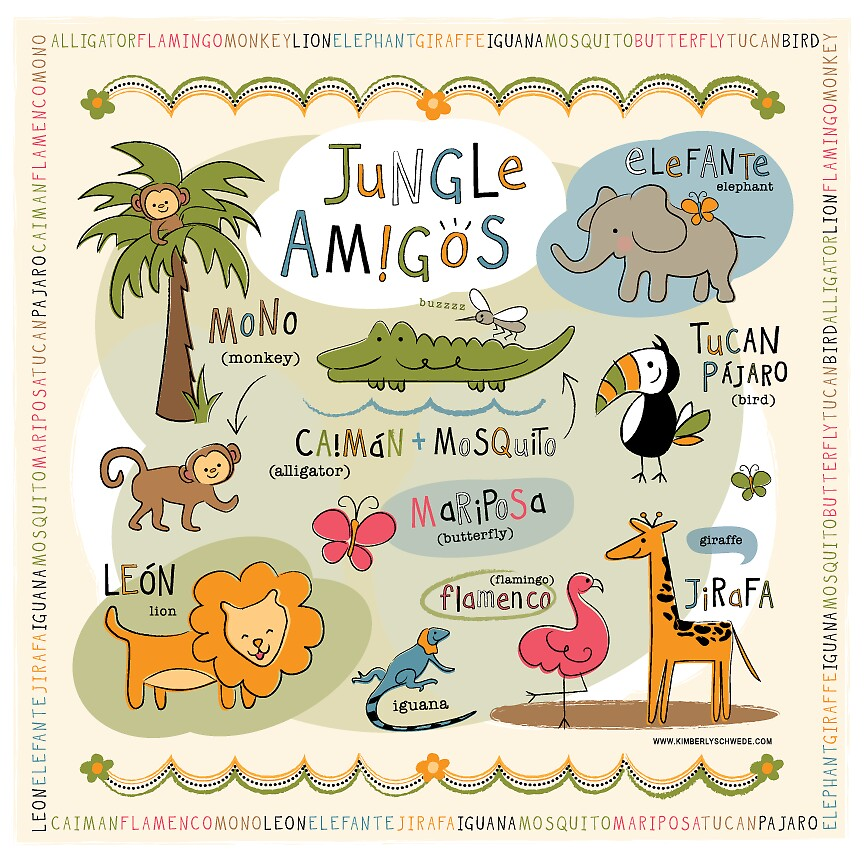 Jungle Amigos! Bilingual Animal Art by kimberlyschwede