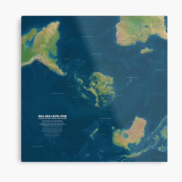Southern Hemisphere 80m Sea Level Rise Metal Print