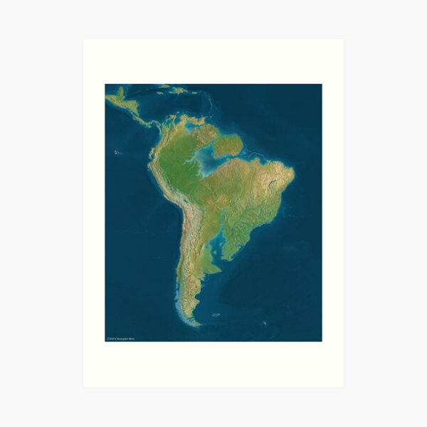 South America 80m Sea Level Rise Art Print