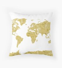 World map Gold paint Throw Pillow
