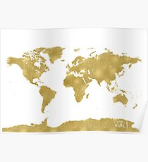 World map Gold B Poster