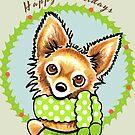 Long Haired Chihuahua Happy Howlidays by offleashart