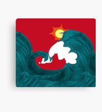 Shark Surfing Canvas Print