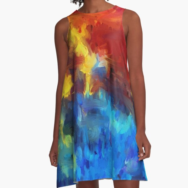 Bold, Bright Colorful Abstract Painting A-Line Dress