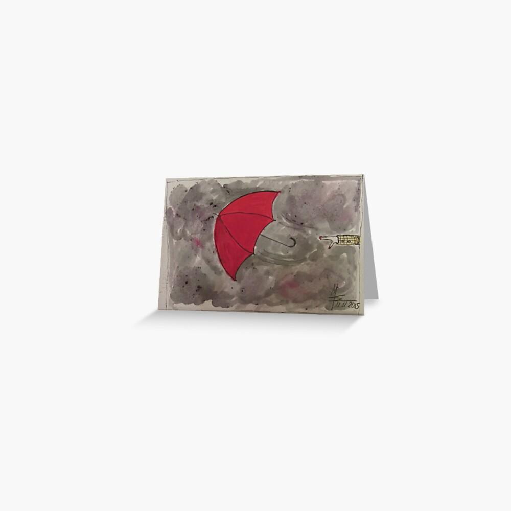 Der fliegende rote Regenschirm - Der fliegende rote Regenschirm Grußkarte