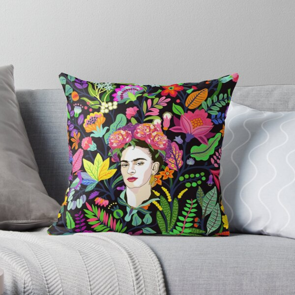 Frida in Bloom Throw Pillow