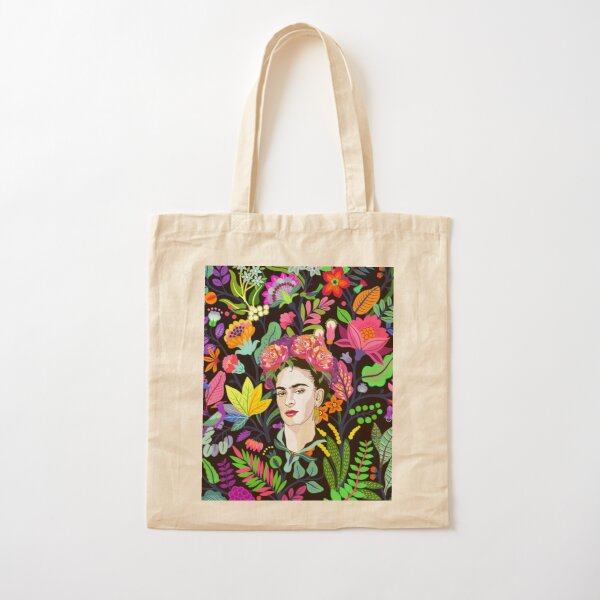 Frida in Bloom Cotton Tote Bag