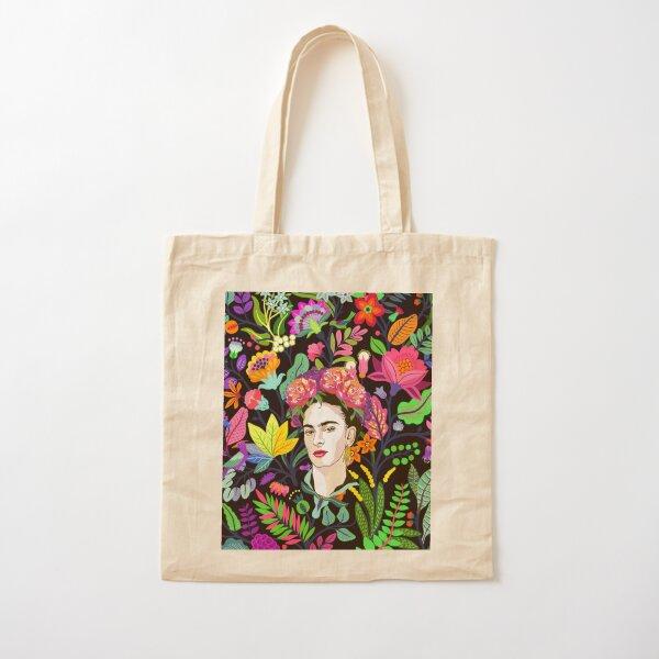 Frida in Bloom Cotton Tote Bag