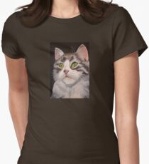 Long Haired Tabby Cat Portrait Womens Fitted T-Shirt