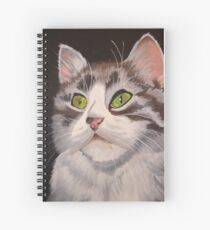 Long Haired Tabby Cat Portrait Spiral Notebook