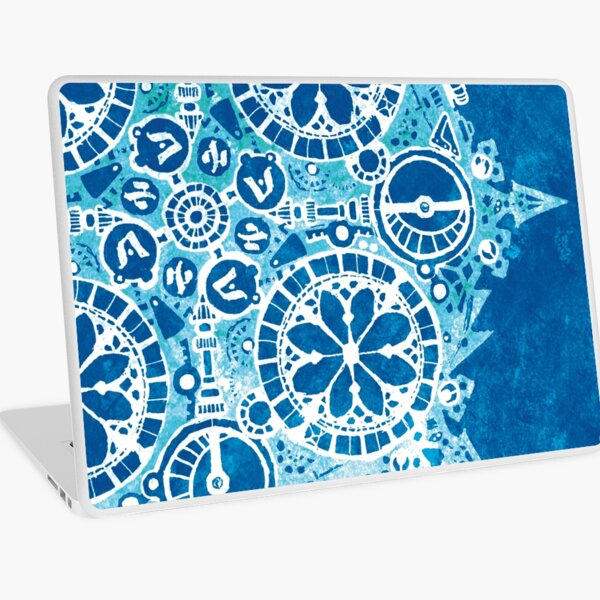 Abstract Inked Machinery, Frost Blue Laptop Skin