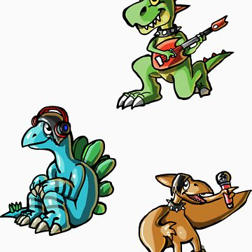 Baby Dino Rockers Stickers by KimboDragon