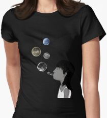Blowing planets Womens Fitted T-Shirt