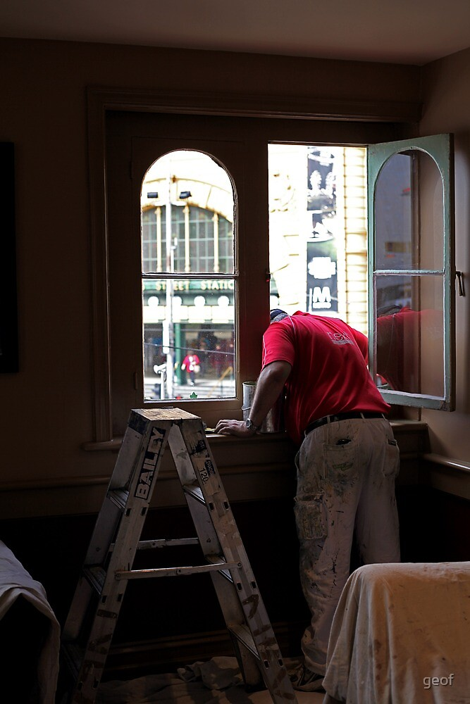 """Young and Jackson's gets a lick of paint. Subtitle """"painter loses his head."""" by geof"""