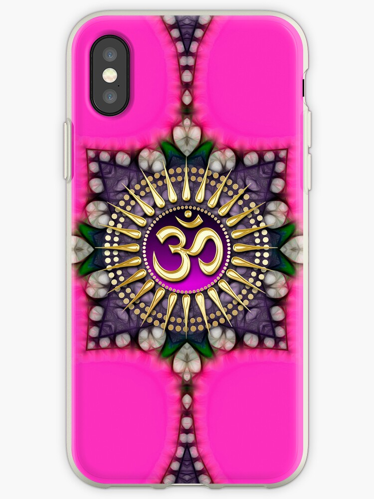New Age Golden Om on Hot Pink iPhone & iPod Case by webgrrl
