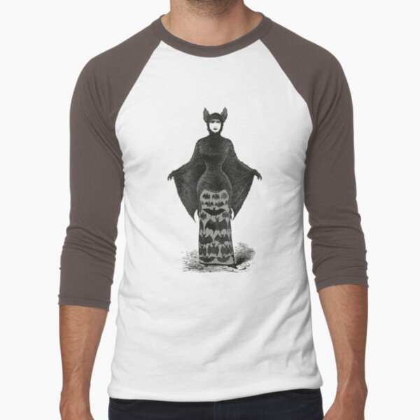 Victorian Bat Woman | Victorian Halloween Costume | Victorian Bat Costume | Baseball ¾ Sleeve T-Shirt