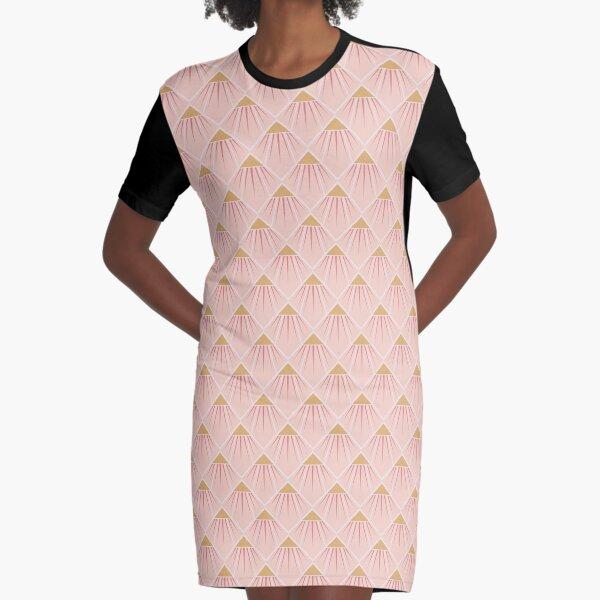 Art Deco Pink Cone Flower Graphic T-Shirt Dress
