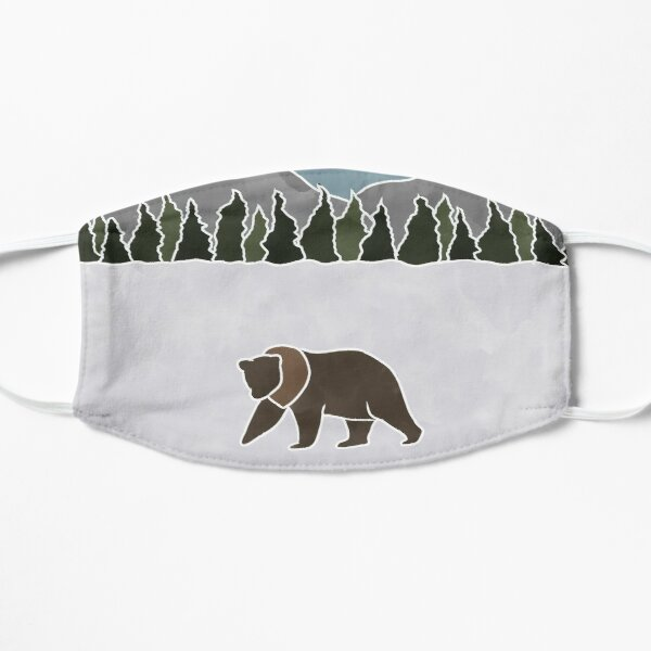 Grizzly Bear in a Snowy Mountain Scene Mask