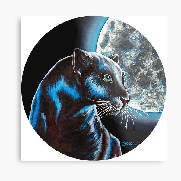 Moon Panther - Endangered Animals from Shee - Retro Animals Metal Print