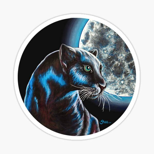 Moon Panther - Shee Endangered Retro Animals Sticker