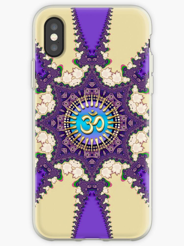Purple Fractal Lace Om Symbol iPhone + iPod Touch Case by webgrrl