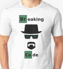 Breaking Code - Black/Green on White Bad Parody Design for Hackers T-Shirt