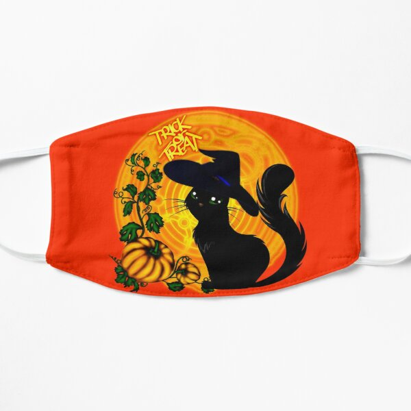 Halloween Katze - Süßes oder Saures! Flache Maske