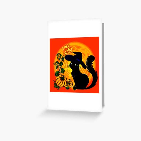 Halloween Katze - Süßes oder Saures! Grußkarte