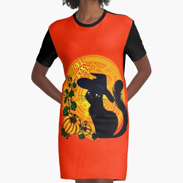 Halloween Katze - Süßes oder Saures! T-Shirt Kleid