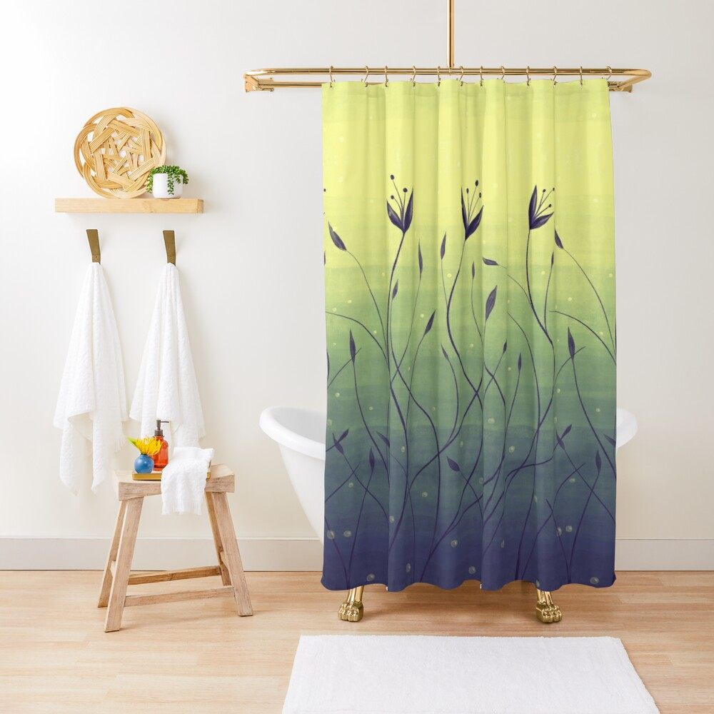 Water Plants In Green Lake Abstract Botanical Art Shower Curtain