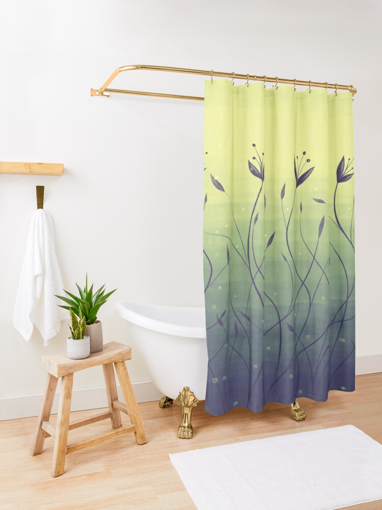 Alternate view of Water Plants In Green Lake Abstract Botanical Art Shower Curtain