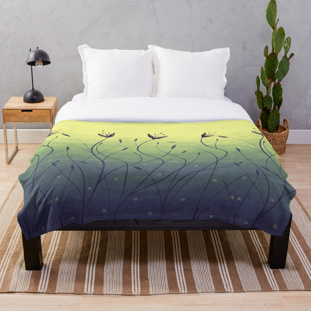 Water Plants In Green Lake Abstract Botanical Art Throw Blanket