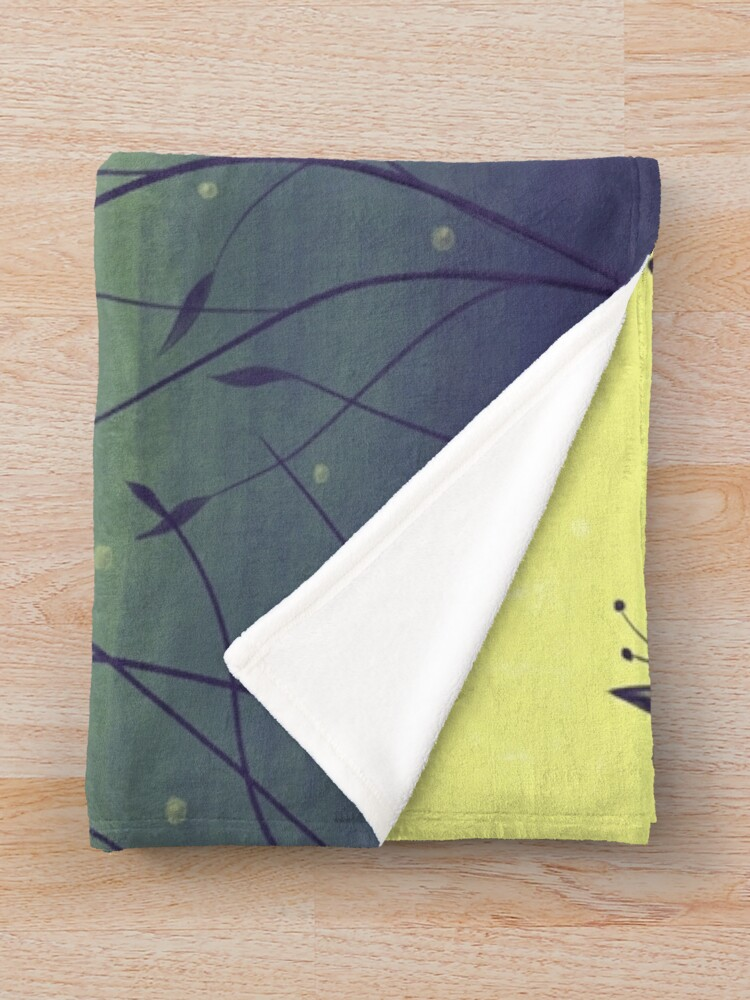 Alternate view of Water Plants In Green Lake Abstract Botanical Art Throw Blanket