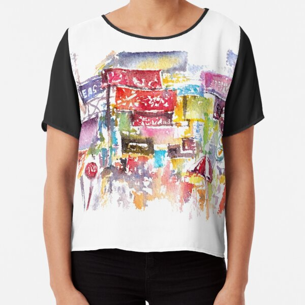 HK Mongkok Watercolors Chiffon Top