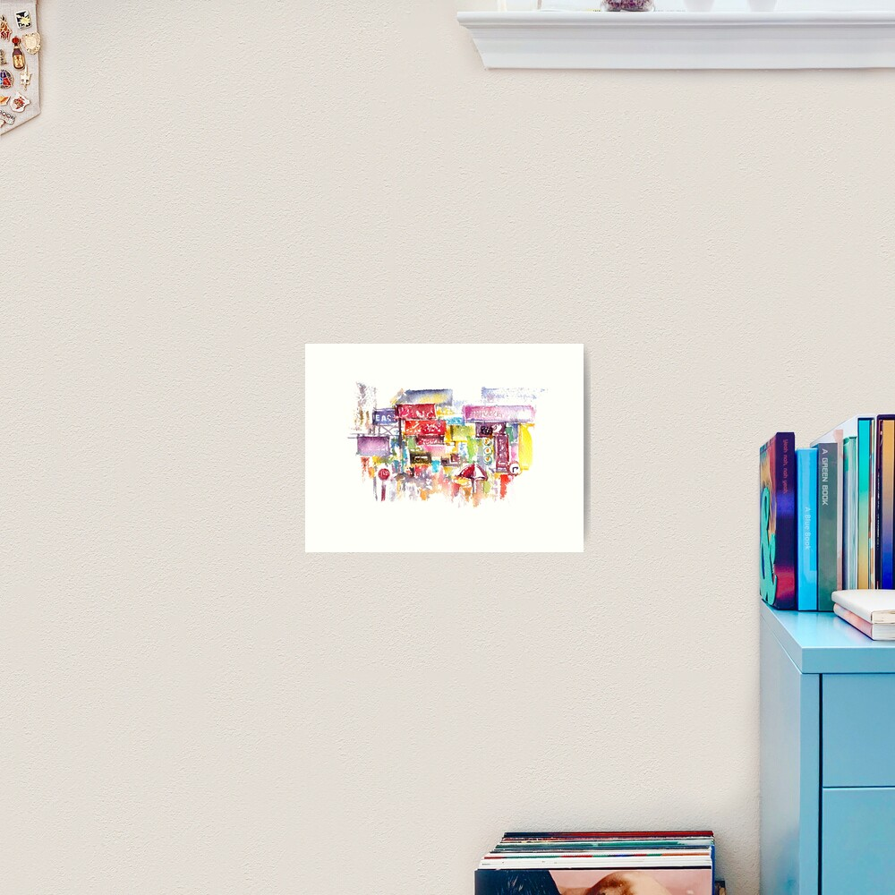 HK Mongkok Watercolors Art Print