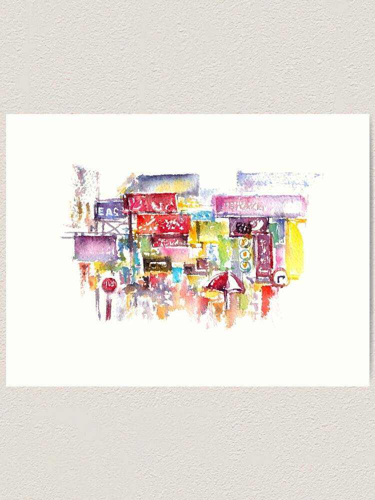 Alternate view of HK Mongkok Watercolors Art Print