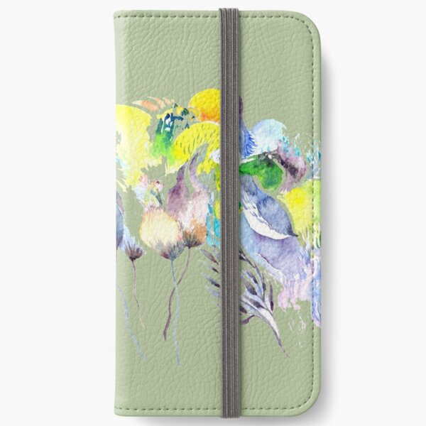 Abstract Blue Birds iPhone Wallet