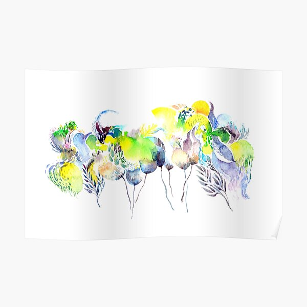Abstract Blue Birds Poster