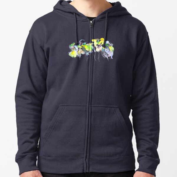 Abstract Blue Birds Zipped Hoodie